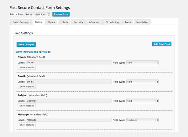 Fast_Secure_Contact_Form_voorbeeld_settings